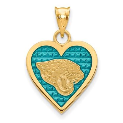 Picture of Jacksonville Jaguars Sterling Silver Gold Plated Enameled Heart Pendant