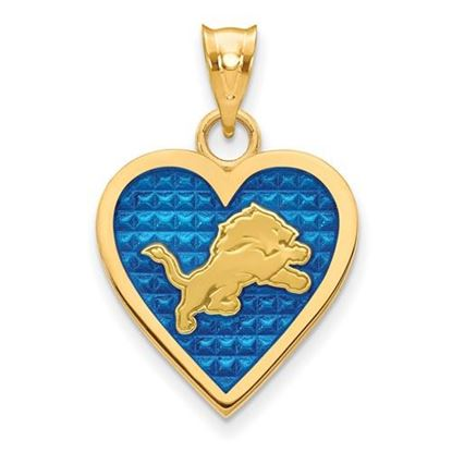 Picture of Detroit Lions Sterling Silver Gold Plated Enameled Heart Pendant