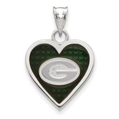 Picture of Green Bay Packers Sterling Silver Enameled Heart Pendant
