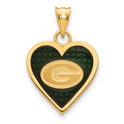 Picture of Green Bay Packers Sterling Silver Gold Plated Enameled Heart Pendant