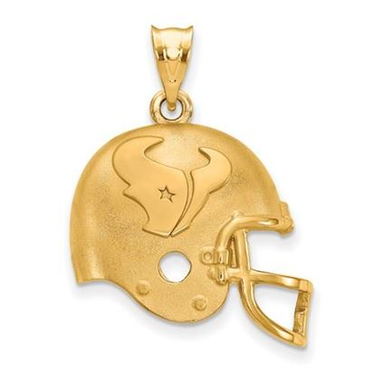 Picture of Houston Texans Sterling Silver Gold Plated Football Helmet Pendant
