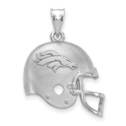 Picture of Denver Broncos Sterling Silver Football Helmet with Logo Pendant