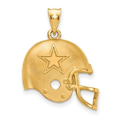 Picture of Dallas Cowboys Sterling Silver Gold Plated Football Helmet Pendant