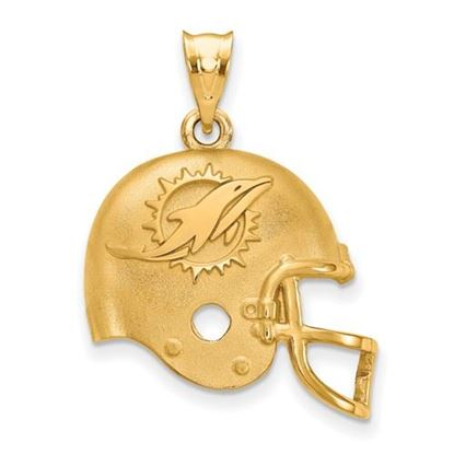 Picture of Miami Dolphins Sterling Silver Gold Plated Football Helmet Pendant