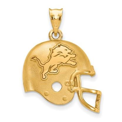 Picture of Detroit Lions Sterling Silver Gold Plated Football Helmet Pendant