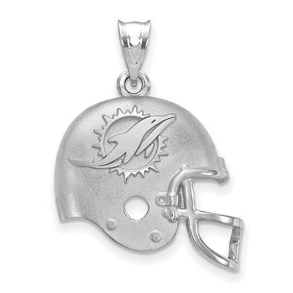 Picture of Miami Dolphins Sterling Silver Football Helmet with Logo Pendant