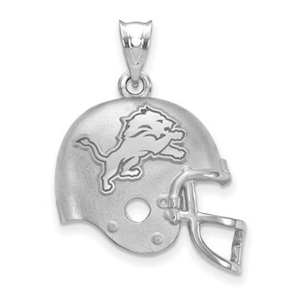 Picture of Detroit Lions Sterling Silver Football Helmet with Logo Pendant