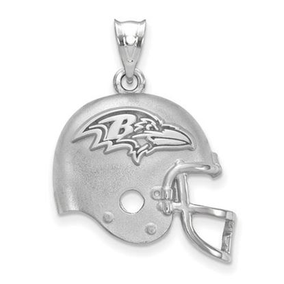 Picture of Baltimore Ravens Sterling Silver Football Helmet with Logo Pendant