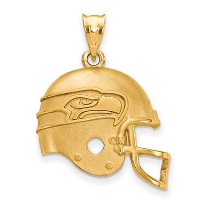 Picture of Seattle Seahawks Sterling Silver Gold Plated Helmet Pendant