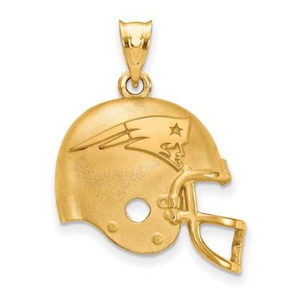 Picture of New England Patriots Sterling Silver Gold Plated Helmet Pendant