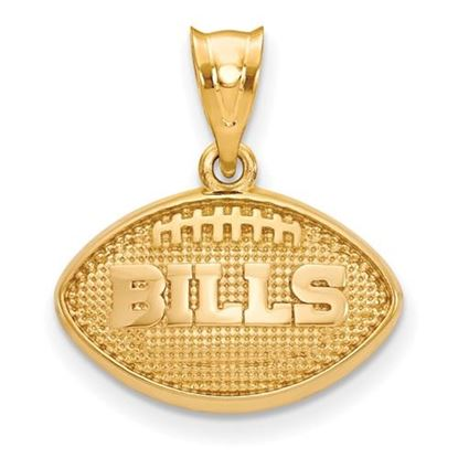 Picture of Buffalo Bills Sterling Silver Gold Plated Football with Logo Pendant