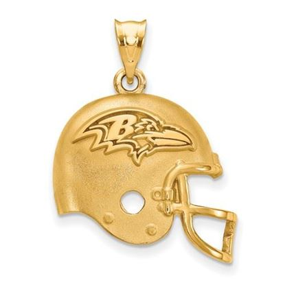 Picture of Baltimore Ravens Sterling Silver Gold Plated Helmet Pendant