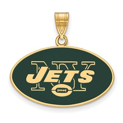Picture of New York Jets Sterling Silver Gold Plated Large Enameled Pendant
