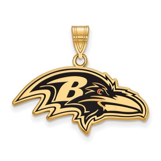 Picture of Baltimore Ravens Sterling Silver Gold Plated Large Enameled Pendant
