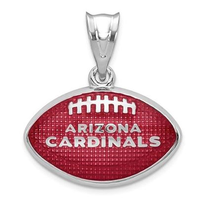 Picture of Arizona Cardinals Sterling Silver Rhodium-plated Football Pendant
