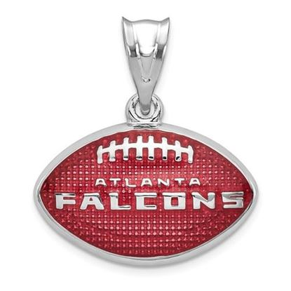 Picture of Atlanta Falcons Sterling Silver Rhodium-plated Enameled Football Pendant