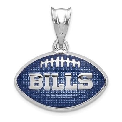Picture of Buffalo Bills Sterling Silver Rhodium-plated Enameled Football Pendant