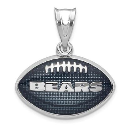 Picture of Chicago Bears Sterling Silver Rhodium-plated Enameled Football Pendant