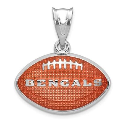 Picture of Cincinnati Bengals Sterling Silver Rhodium-plated Enameled Football Pendant