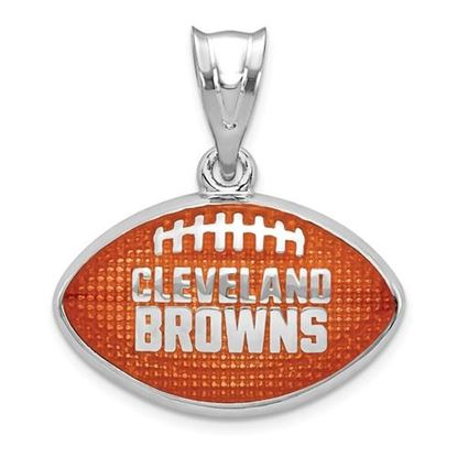 Picture of Cleveland Browns Sterling Silver Rhodium-plated Enameled Football Pendant