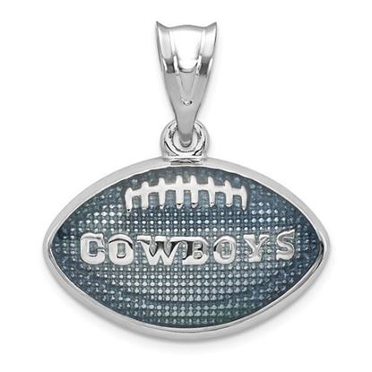 Picture of Dallas Cowboys Sterling Silver Rhodium-plated Enameled Football Pendant