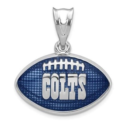 Picture of Indianapolis Colts Sterling Silver Rhodium-plated Football Pendant