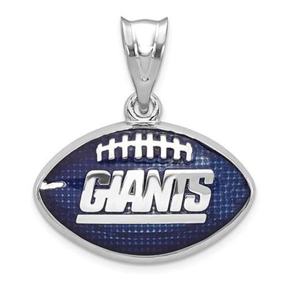 Picture of New York Giants Sterling Silver Rhodium-plated Football Pendant