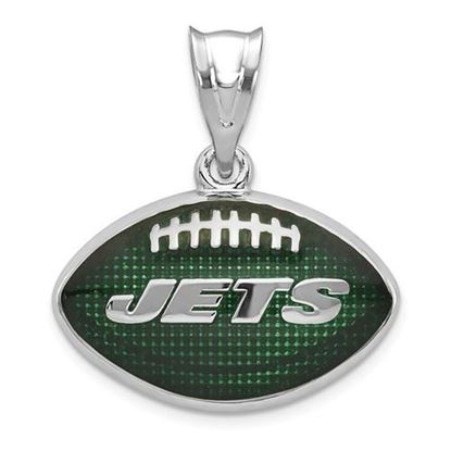 Picture of New York Jets Sterling Silver Rhodium-plated Enameled Football Pendant