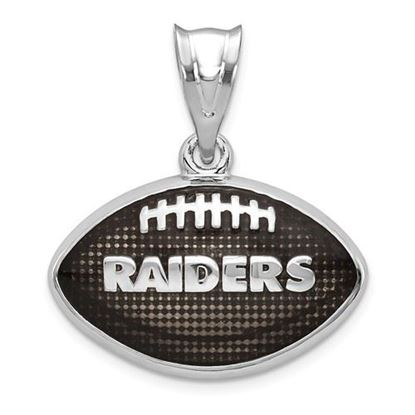 Picture of Oakland Raiders Sterling Silver Rhodium-plated Enameled Football Pendant