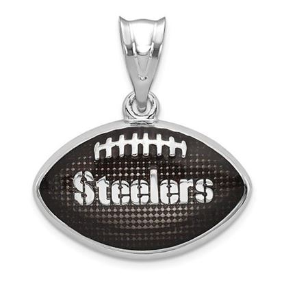 Picture of Pittsburgh Steelers Sterling Silver Rhodium-plated Football Pendant
