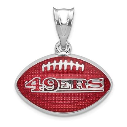 Picture of San Francisco 49ers Sterling Silver Rhodium-plated Football Pendant