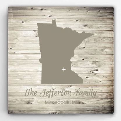 Personalized City & State White Wash Canvas Sign