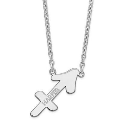 Personalized Sterling Silver Rhodium-Plated Sagittarius Zodiac Necklace