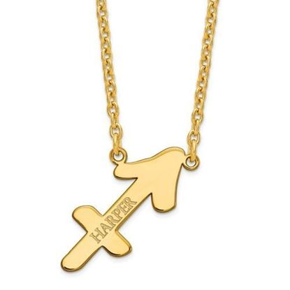Personalized Gold Plated Sterling Silver Sagittarius Zodiac Necklace