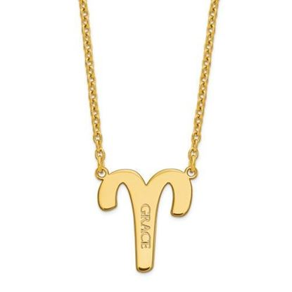 Personalized Gold Plated Sterling Silver Aries Zodiac Necklace