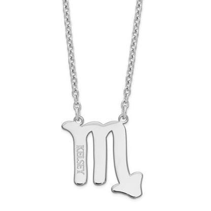 Personalized Sterling Silver Rhodium-Plated Scorpio Zodiac Necklace