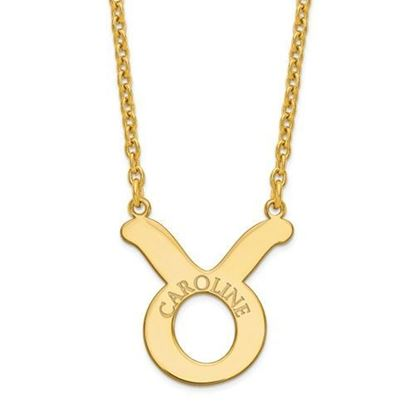 Personalized Gold Plated Sterling Silver Taurus Zodiac Necklace