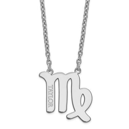 Personalized Sterling Silver Rhodium-Plated Virgo Zodiac Necklace