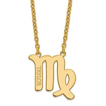 Personalized Gold Plated Sterling Silver Virgo Zodiac Necklace