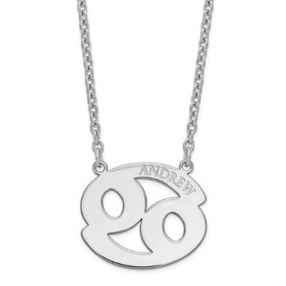 Personalized Sterling Silver Rhodium-Plated Cancer Zodiac Necklace