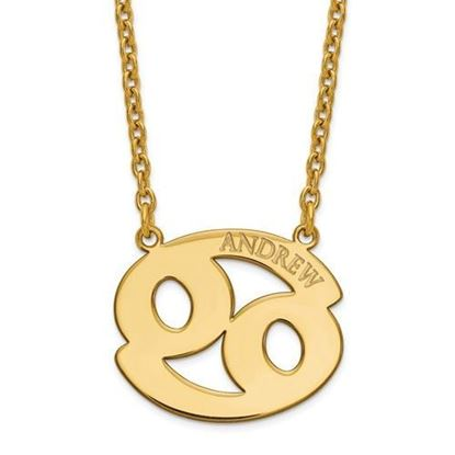 Personalized Gold Plated Sterling Silver Cancer Zodiac Necklace