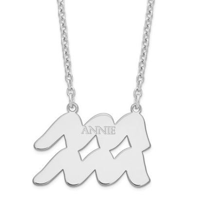 Personalized Sterling Silver Rhodium-Plated Aquarius Zodiac Necklace