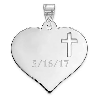 Personalized Heart with Cutout Cross Rhodium-plated Sterling Silver