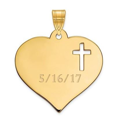 Personalized Heart with Cutout Cross Gold-plated Sterling Silver