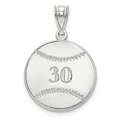 Personalized Baseball Pendant Sterling Silver Name and Number
