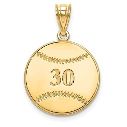Personalized Baseball Pendant Gold-plated Sterling Silver Name and Number