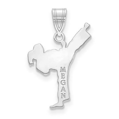 Personalized Martial Arts Pendant Rhodium-plated Sterling Silver