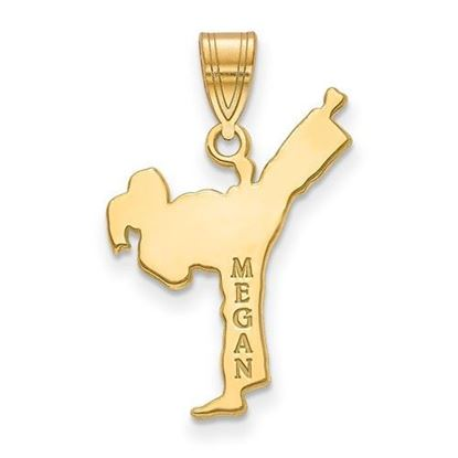 Personalized Martial Arts Pendant Gold-plated Sterling Silver