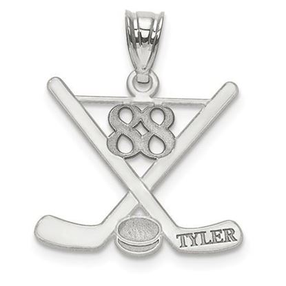 Personalized Hockey Pendant Sterling Silver Name and Number