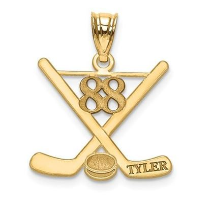 Personalized Hockey Pendant Gold-plated Sterling Silver Name and Number